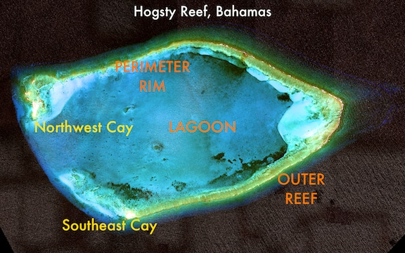 Satellite image of Hogsty Reef and its key components