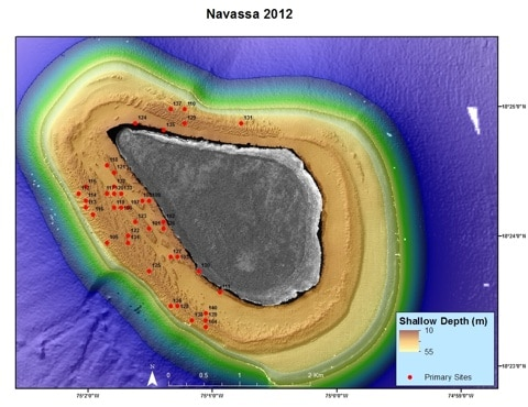 Navassa Mission primary dive sites (by Southeast Fisheries Science Center)