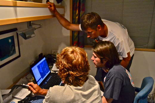 Going through satellite and survey data looking for dive sites (l to r: Andy Bruckner, Jeremey Kerr, and Brian Beck)