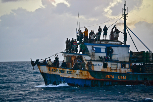 Nicaraguan fishing boat at Bajo Nuevo