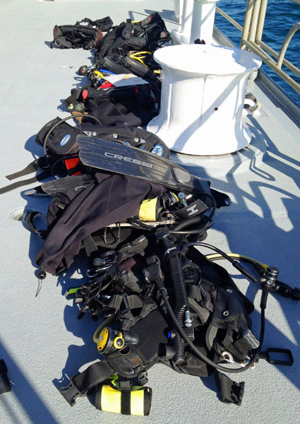 Each mission takes lots of dive gear