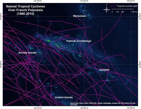 Coral threats: Tropical cyclones can be hundreds of kilometers wide, which would cover all of French Polynesia.