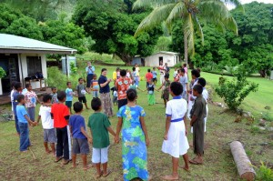 Totoya island, Tovu Village primary school playing food web activity.
