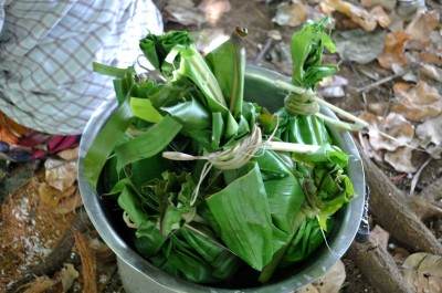 This is the traditional method of cooking food. This food is wrapped in taro leaves and will be cooked in an umu.