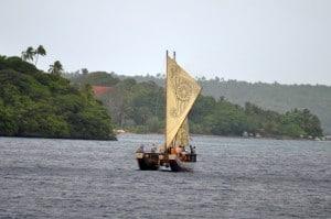 A tour boat in Vava'u as a replica of a Polynesian vessel.