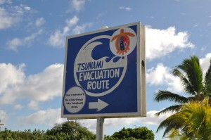 Tsunami evacuation route sign on Niuatoputapu
