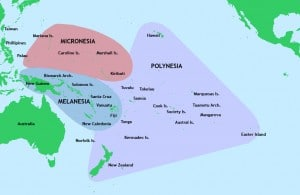 Map of Oceania. The triangle represents the region within which Polynesian navigation flourished.