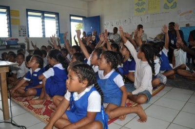 Marine Education about Coral Conservation starts early for the Tongan children.