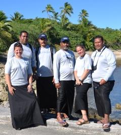 The Tongan Coral Conservation Education Team: Amy Heemsoth, Malakai Finau, Hoifua 'Aholahi, Sione Mailau, Karen Stone, and 'Apai Moala.