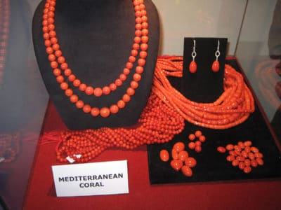 Jewelry made from Mediterranean red coral 'Corallium rubrum'.