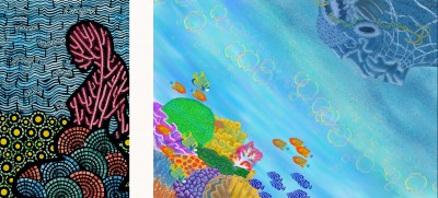 """3rd Place: """"Coral Reefs For Ever"""" by Hiba Khamlichi and """"Two Faces of Coral Reefs"""" by Kang San Kim"""