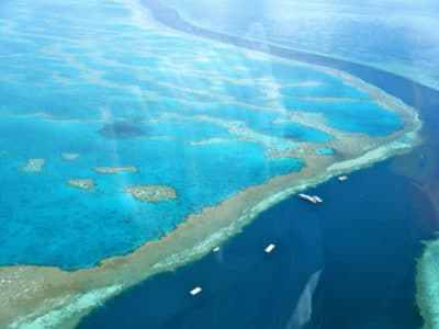 Helicopter view of the reef and boats over the Great Barrier Reef at the Whitsunday Islands, Australia.