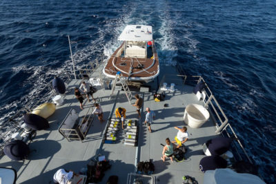 Back deck of the M/Y Golden Shadow.