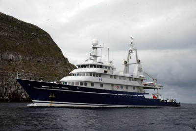 The M/Y Golden Shadow, home to the scientific team during the research, near Darwin Island, Galapagos.