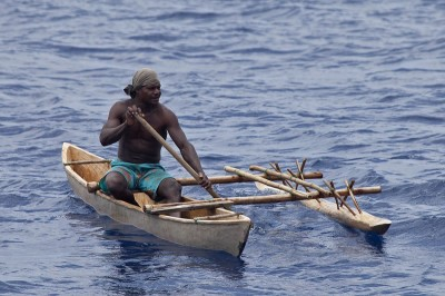 Kia Village traditional dugout canoe with outrigger.