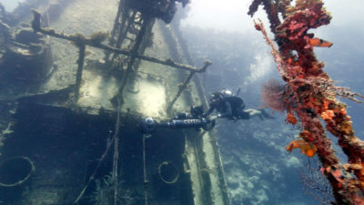 Catlin Seaview Survey near a submerged shipwreck.