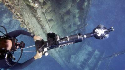 Catlin Seaview Survey near a submerged shipwreck.