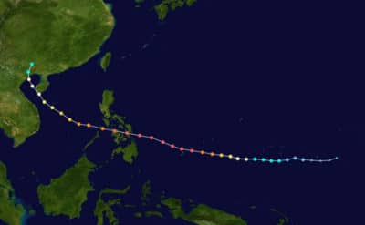Track of Super Typhoon Haiyan in 2013