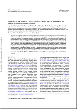 Significance of new records of Tridacna squamosa Lamarck, 1819, in the Tuamotu and Gambier Archipelagos (French Polynesia)