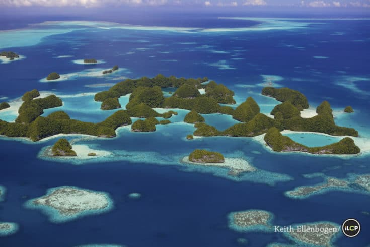 Aerial: Seventy Islands or Ngerukewid Islands, Palau