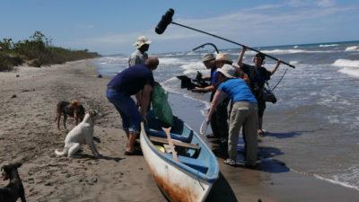 The film crew at work on the beach in La Rosita