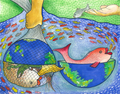 Third Place: We Protect Our Oceans Resource by Dharunigsa Naguleshwaran, Age 11, Sri Lanka
