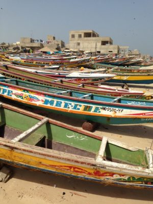 Colorful pirogues, the traditional fishing boat used in Senega