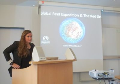 KSLOF Coral Reef Ecologist Alex Dempsey at the Red Sea Biodiversity Conference