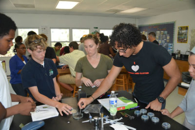 Students sterilize diseased leaf pieces in bleach solution.