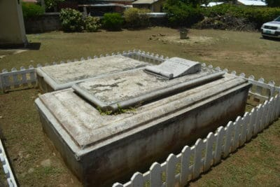Graves of William Knibb and his wife Mary, which are located in back of the church.