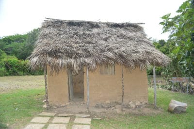 A recreation of the slave quarters at New Seville Sugar Plantation
