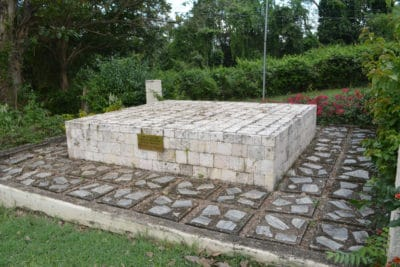 The grave of four unknown slaves that were exhumed from another part of the property and reburied here on Emancipation Day in 1997.