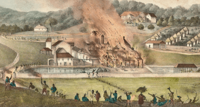 Picture of the burning of Roehampton Estate during the Baptist War