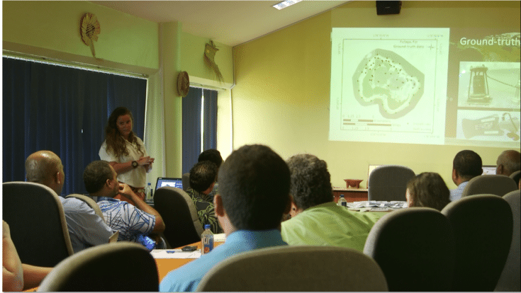 Alex Dempsey delivers the findings of Khaled bin Sultan Living Oceans Foundation research to officials in Fiji