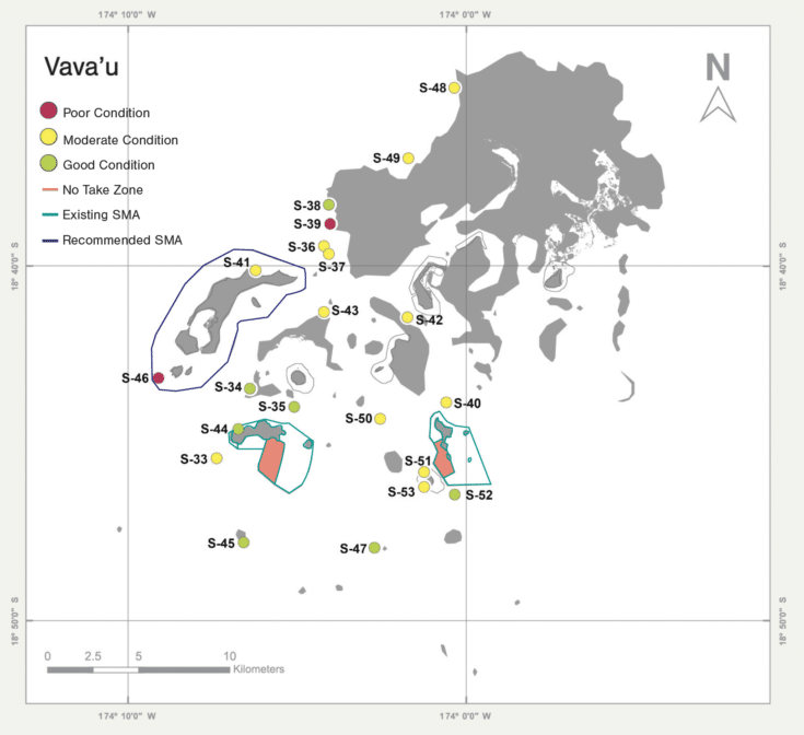 Coral reef health grades in Tonga