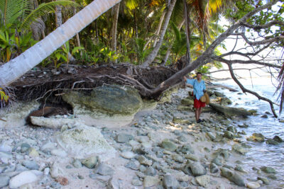 Sam Purkis studying sea level rise in the Chagos Archipelago